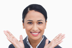 Close up of positive surprised saleswoman Royalty Free Stock Photos