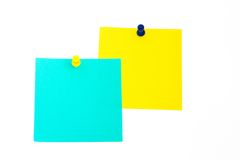 Close up of post it reminders. On white background Stock Image