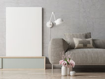 Close up poster on hipster living room background Royalty Free Stock Photography