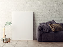 Close up poster with vintage sofa, white brick background,. 3D illustration Stock Image
