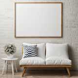 Close up poster on white brick wall, hipster interior. 3d illustration stock illustration