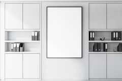 Close up of poster in white office with bookcases. Vertical mock up poster frame handing in modern office with white walls and bookcases with folders. Concept of vector illustration