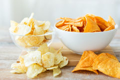 Close up of potato crisps and nachos in glass bowl Stock Image