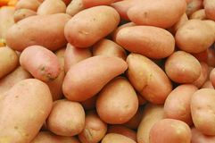 Close up of potatoes on market stand Royalty Free Stock Images