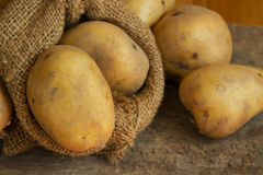Close up Potatoes in sack Stock Photos