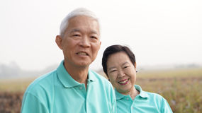 Close up potrait of smiling Asian senior couple on bright green Royalty Free Stock Image