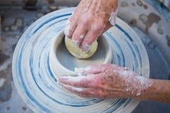 Close-up of potter making pot Royalty Free Stock Image