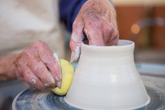 Close-up of potter making pot Royalty Free Stock Photography