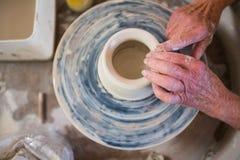 Close-up of potter making pot Royalty Free Stock Photo