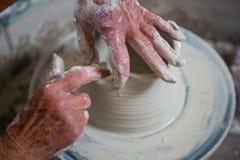 Close-up of potter making pot Royalty Free Stock Photos