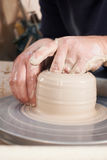 Close Up Of Potter Moulding Clay On Wheel Stock Photography