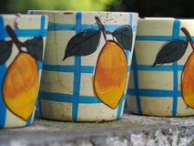 Close-up of pottery painted with peaches royalty free stock image