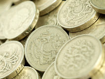 Close-up of Pound Coins Stock Photography