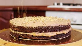 Close-up of pouring nuts on a cream of a chocolate sponge cake. Home baking. Cake on a rotating stand to decorate cakes stock video footage