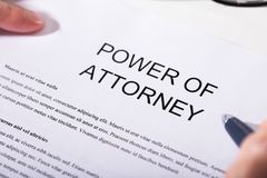 Close-up Of Power Of Attorney Form royalty free stock photo
