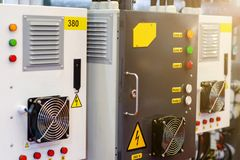 Close-up of Power Distribution Panels. Close-up of Power Distribution Panels royalty free stock photos