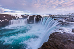 Close up powerful godafoss falls in sunet. Royalty Free Stock Photo