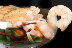 Close up prawn cocktail. Close up of fresh prawn cocktail on a black background Stock Photo