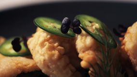 Close up of prawn salad with jalapeno and wakame stock video
