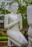 Close up of praying ancient Buddha Statue at WAT YAI CHAI MONGKOL, The Historic City of Ayutthaya, Thailand.  Royalty Free Stock Photography