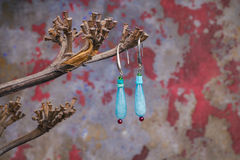 Close up of precious stones earrings Stock Photo