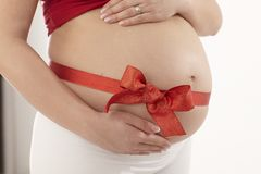 Close-up pregnant tummy Royalty Free Stock Photography