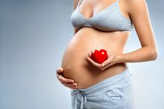 Close up of pregnant woman holding red heart on grey background. Pregnancy, maternity, preparation and expectation concept stock image