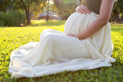 Close up pregnant woman stock photo