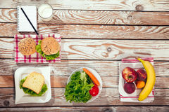 Close-up prepared by school lunches. On the rustic background Stock Image