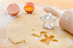 Close up of preparing gingerbread cookies for christmas Royalty Free Stock Images