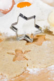 Close up of preparing gingerbread cookies for christmas Royalty Free Stock Photos