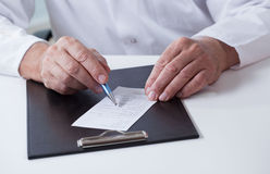 Close-up of prescription Royalty Free Stock Image