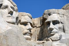 Mount rushmore. Close-up on president heads at mount rushmore royalty free stock photo