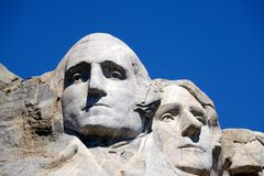 Mount rushmore. Close-up on president heads at mount rushmore royalty free stock photos