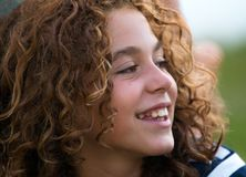 Close-up of a preteen girl royalty free stock image
