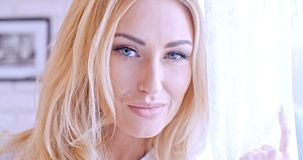 Close up Pretty Blond Woman Face Stock Image