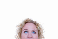 Close up of pretty blonde woman looking up Royalty Free Stock Photo