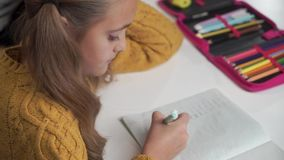 Close-up of pretty Caucasian girl with ponytails studying math. Cute schoolchild solving math problem in the exercise stock video footage