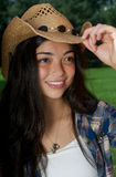 A close up of a pretty cowgirl Stock Photo
