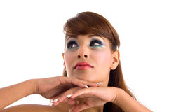 Close up of pretty female looking upward royalty free stock image
