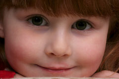 Close up of pretty  girl's face. Close up of pretty little girl's face with big eyes Stock Photos