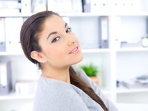Close up Pretty Long Hair Woman at the Office Royalty Free Stock Images