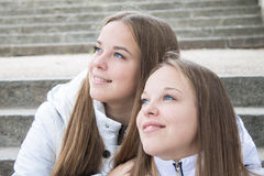 Close-up of pretty twins  Stock Image