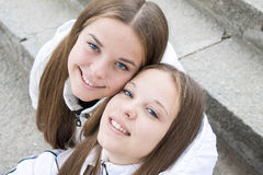 Close-up of pretty twins  Stock Photos