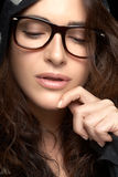 Close up Pretty Woman Face with Glasses. Cool Trendy Eyewear Stock Photo