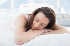 Close up of pretty woman sleeping in bed Royalty Free Stock Photos