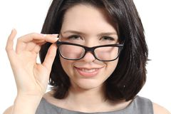 Close up of a pretty woman wearing glasses Royalty Free Stock Photography