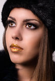 Close up Pretty Woman with Winter Fur Hat Royalty Free Stock Image