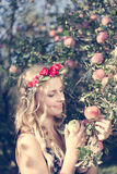 Close up on pretty young apple fairy with three fruits Stock Photography