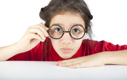 Close up of pretty young nerdy girl Royalty Free Stock Photos